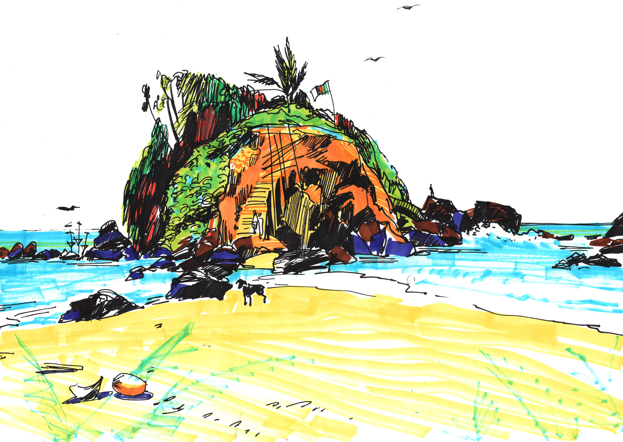 2. Mirissa island. Wonderful beach and view to the treasure island  Sketch pens, black ink Original size 21cm x 28cm