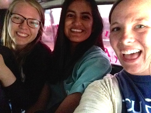 Me, Andy, and Allie in a minibus