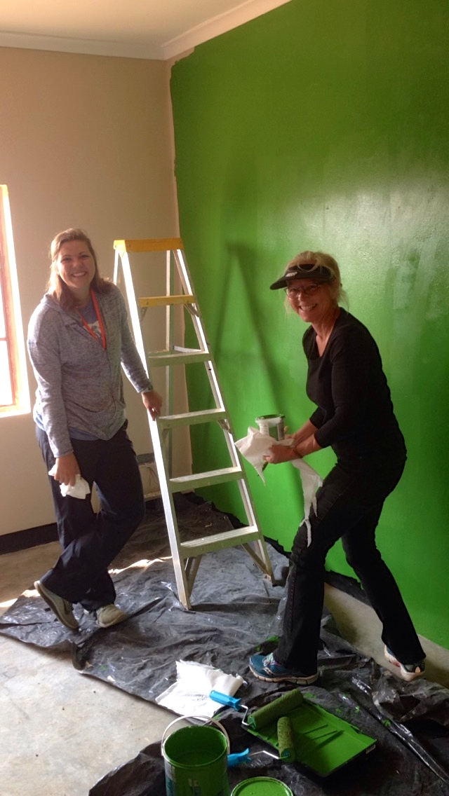 Clara and mom, Sarah painting the green wall for Hope and Stella