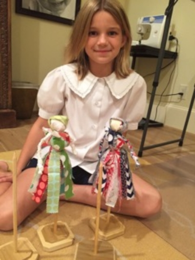 Avalon showing home-made rag dolls inspired by The Little House on the Prairie.