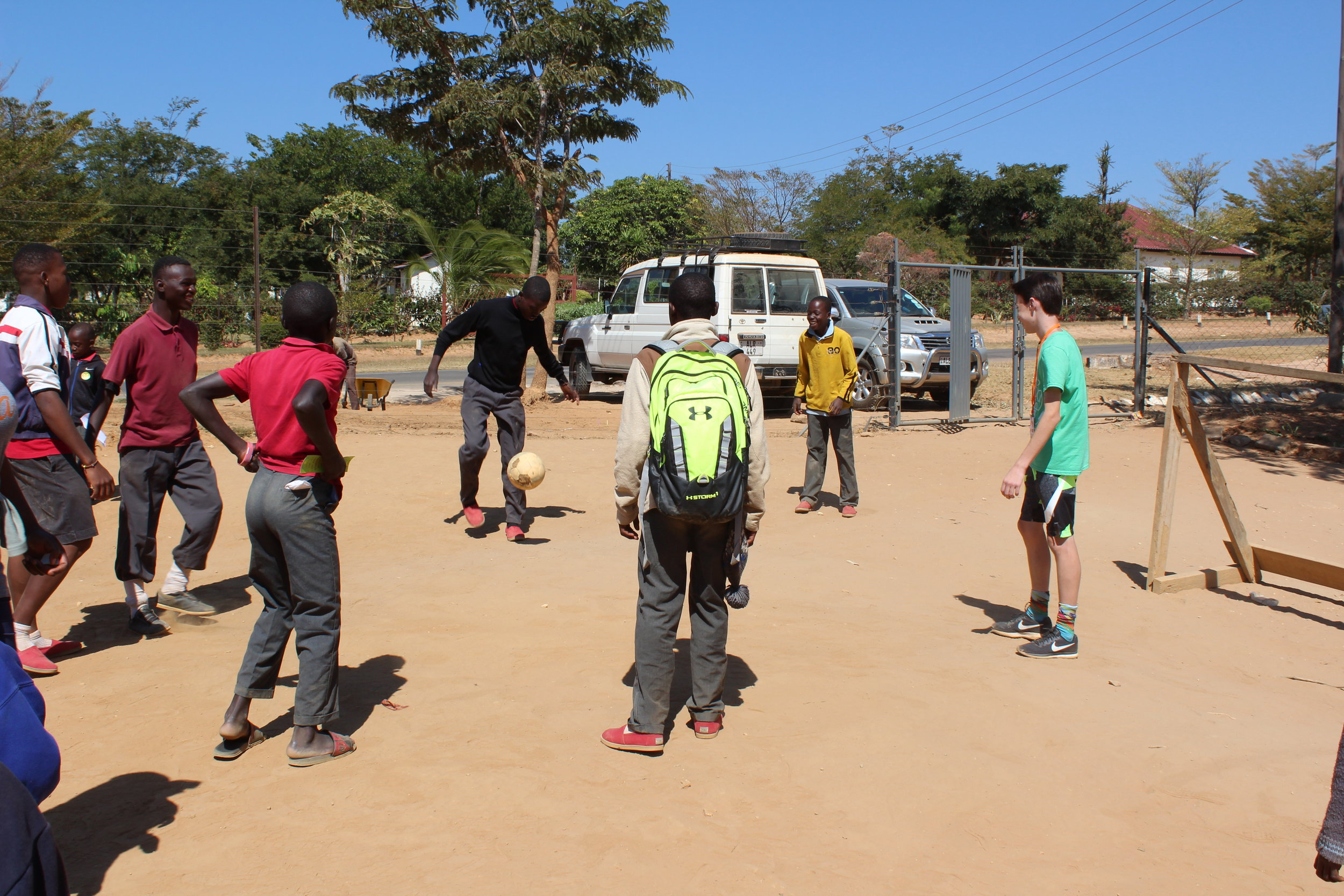 """Press and his VBS group playing """"football"""" before the end of the day"""