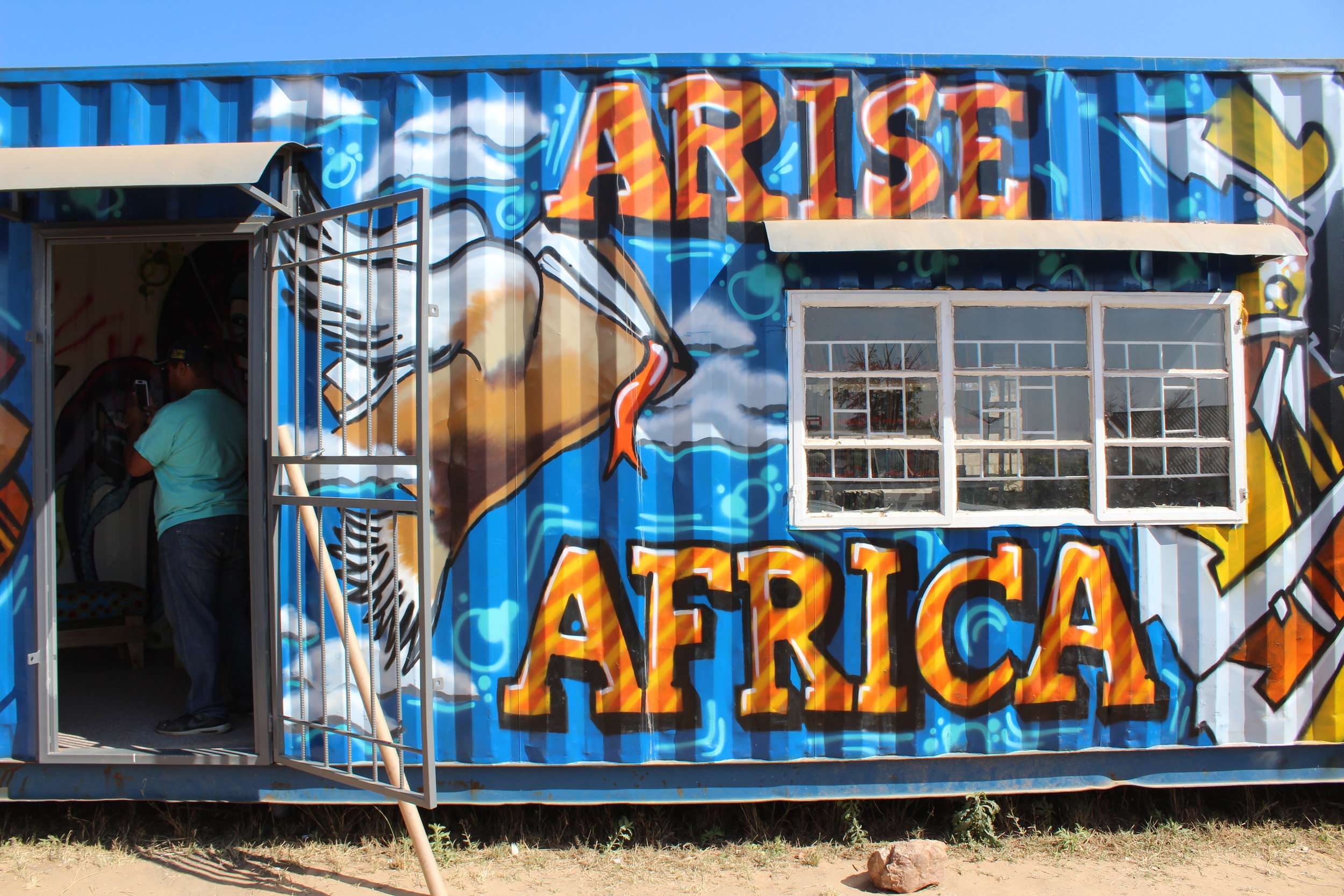 One shipping container, 5 holes for doors and windows, one amazing paint job, 2,000 books