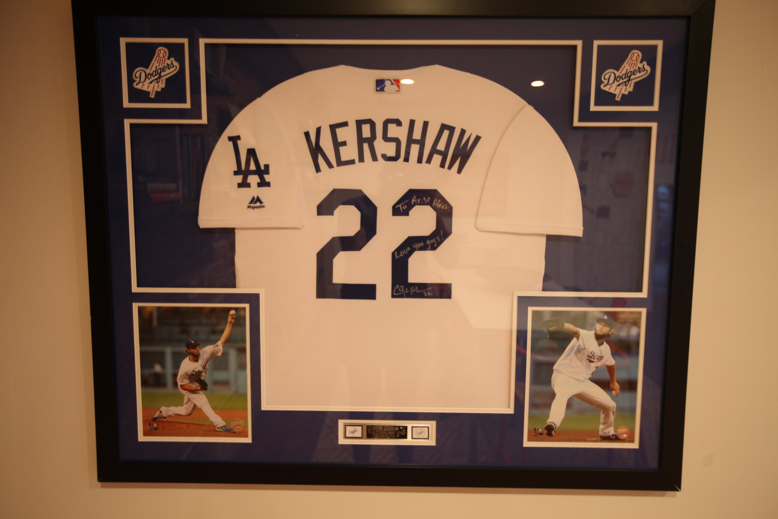 Arise Africa works closely with Clayton and Ellen Kershaw.  The back conference room has a Clayton Kershaw jersey signed to Arise.