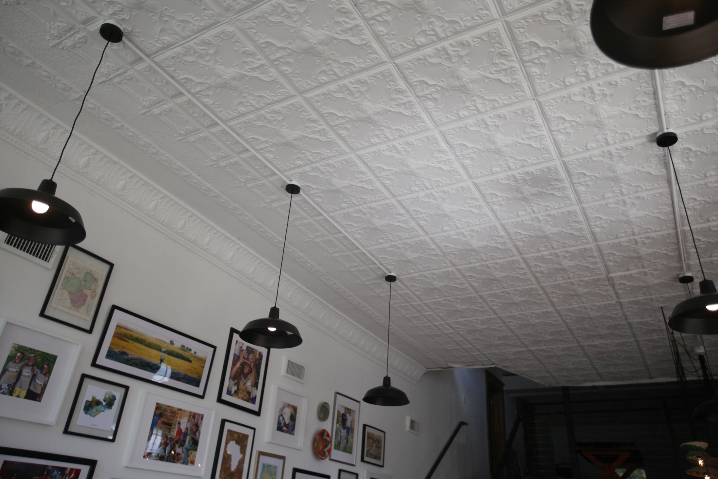 The ceiling tiles are original to the building and made of tin.