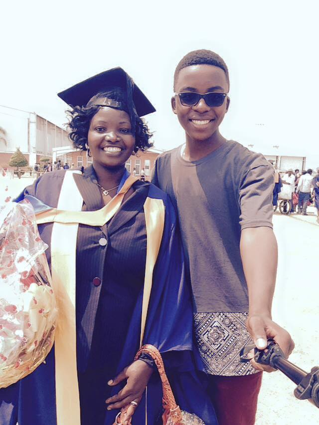 Irené with his mom at her university graduation.