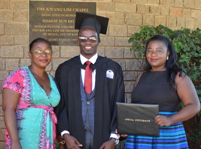 Joseph with his proud aunts, Aunt Fatuma and Aunt Serah