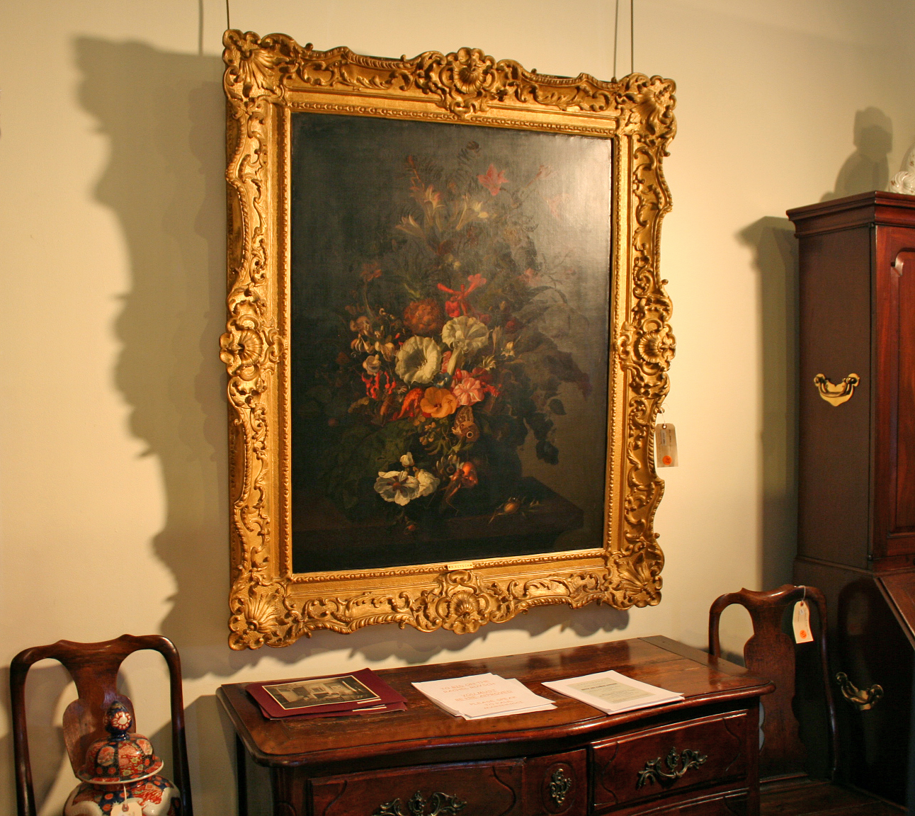 The Rachel Ruysch still life which sold for $2,040,000 (a new world record for the artist), as it hung on auction day.