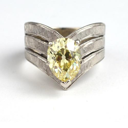 Lot 79 - Pear-shaped Canary Yellow Diamond Ring