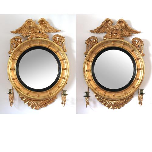 Lot 221 - Pair Gilt-Carved Girandole Mirrors