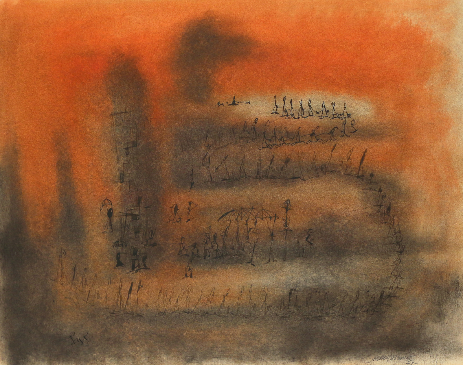 Norman Wilfred Lewis (1919-1979), Untitled, 1951, mixed media on paper, 17 x 22 in.  $15,000-20,000