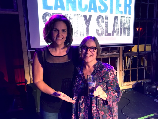Emcee Luanne Sims with Cynthia Angst