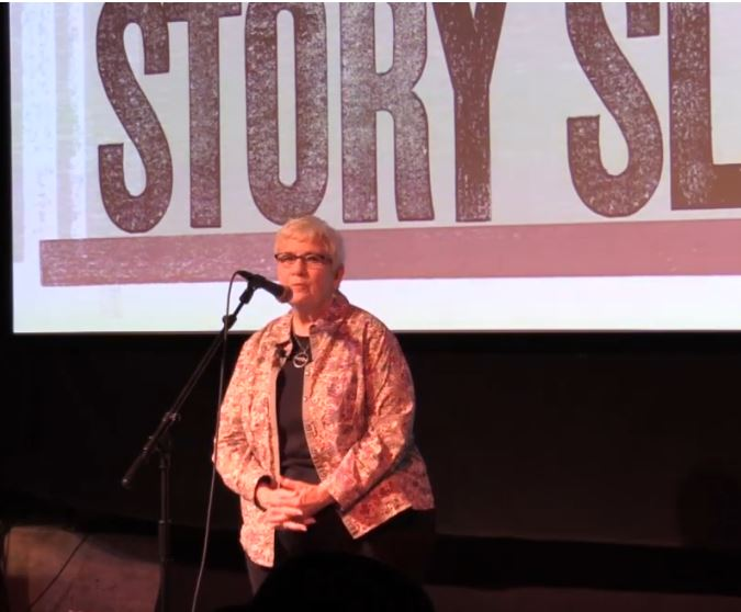 LInda Peacock was a first-time storyteller on our stage in February. Will you have the courage to tell your story on March 26th?