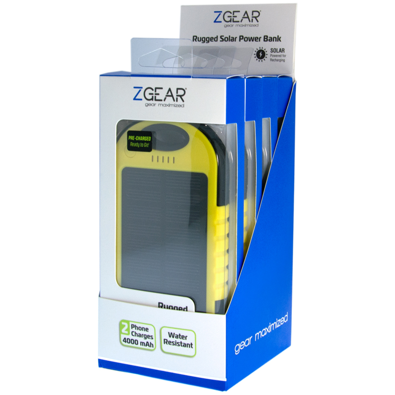 4 PIECE YELLOW 4000 MAH SOLAR POWER BANK DISPLAY