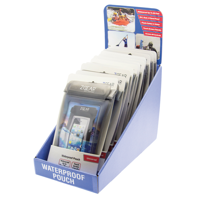 8 PIECE WATERPROOF POUCH COUNTER DISPLAY