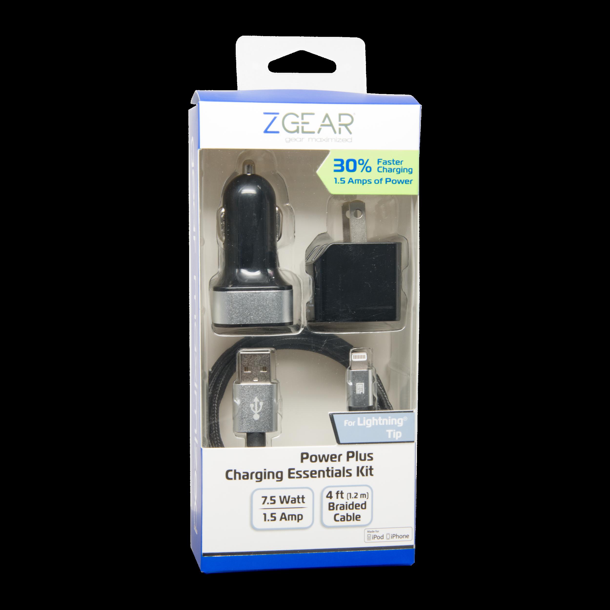 3 piece apple 8-pin mfi high power charging essentials kit