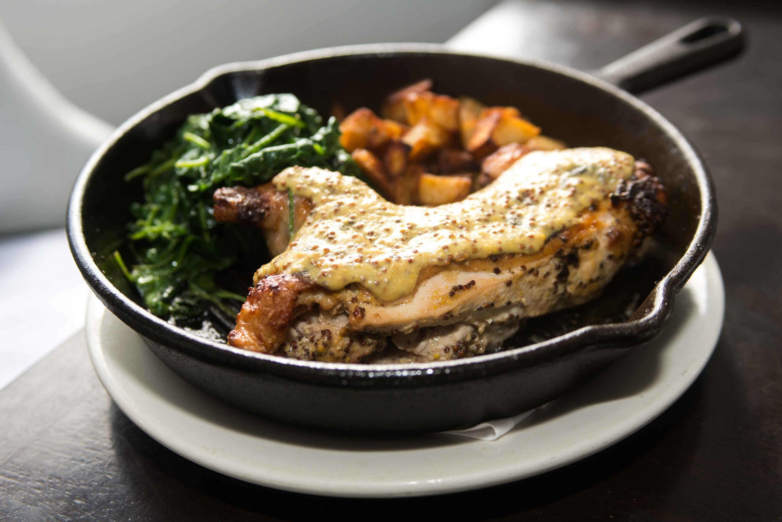 Oven-roasted Mustard Chicken with Sautéed Spinach and Homestyle Potatoes