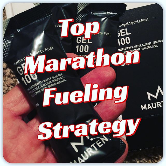 "HOW TO FUEL FOR A MARATHON Most experts suggest taking your first gel/fuel just 5 minutes before start, then another gel about every 30-45 minutes, no sooner and no later if you can.  For a 4-5 hour marathon that would be 5 to 9 gels. Don't let that number scare you, most top runners do fuel at that rate. I push that envelope myself.  A popular fuel with the elites is a gel called Maurtin. I've used it for the last few races and it works well for me at a rate of one gel every 30 minutes.  Since it gets really hard to eat anything after about 3 hours, try not to miss any early gels/fuel. I keep a gel going almost constantly by taking it a little at a time and walking thru almost every water station to keep up my hydration. Carrying that many gels takes planning and practice too.  If I simply can't choke down any more late in a race I'll take Gatorade instead of water at the last couple stations. In races where I've skipped gels/fuel, I struggled towards the finish.  You might hear some runners talk about being ""fat adapted"" and exclaim how they don't need any fuel in the race. While there is a benefit to becoming fat adapted, it takes a strict regimen and strategic training methods to attain good results. And while this helps reduce your racing fuel needs, virtually no top runners race without adding large amounts of fuel even though they train to be fat adapted. The science supports fat adapted training but WITH maximum fueling during the race instead of no fueling.  Without enough fueling you're likely to hit the wall around 3 hours and will be forced to slow down significantly. It's common to see lots of runners in that situation and walking. They might enjoy some surges and run again but will hit the wall again in a few minutes, over and over to the finish. ""It's like draining the bathtub with the faucet on, it will still go empty, just a little later."" - JP  The real skill is in finding your balance point, or perfect pace so you hit the wall as you cross the finish line, not before.  But wait, there's more...(more posted below in comments). Dare to share this with your best running buddy.  Coach Jim #RunnersHighDOTcom"