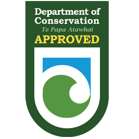 Department of Conservation Approved   As an approved Department of Conservation operator we are recognized as having exceeded all environmental & safety requirements to work in, & to lead groups through New Zealand's protected environmental areas.