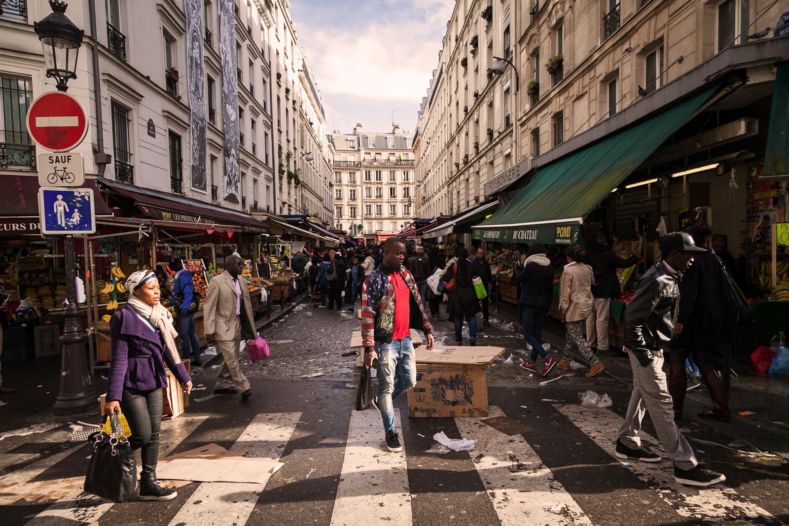 Traditional street market at Rue Dejean.