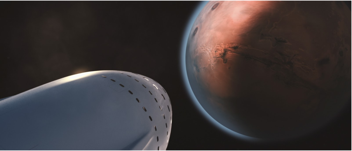 A rendering of SpaceX's Interplanetary Transport System arriving on Mars.