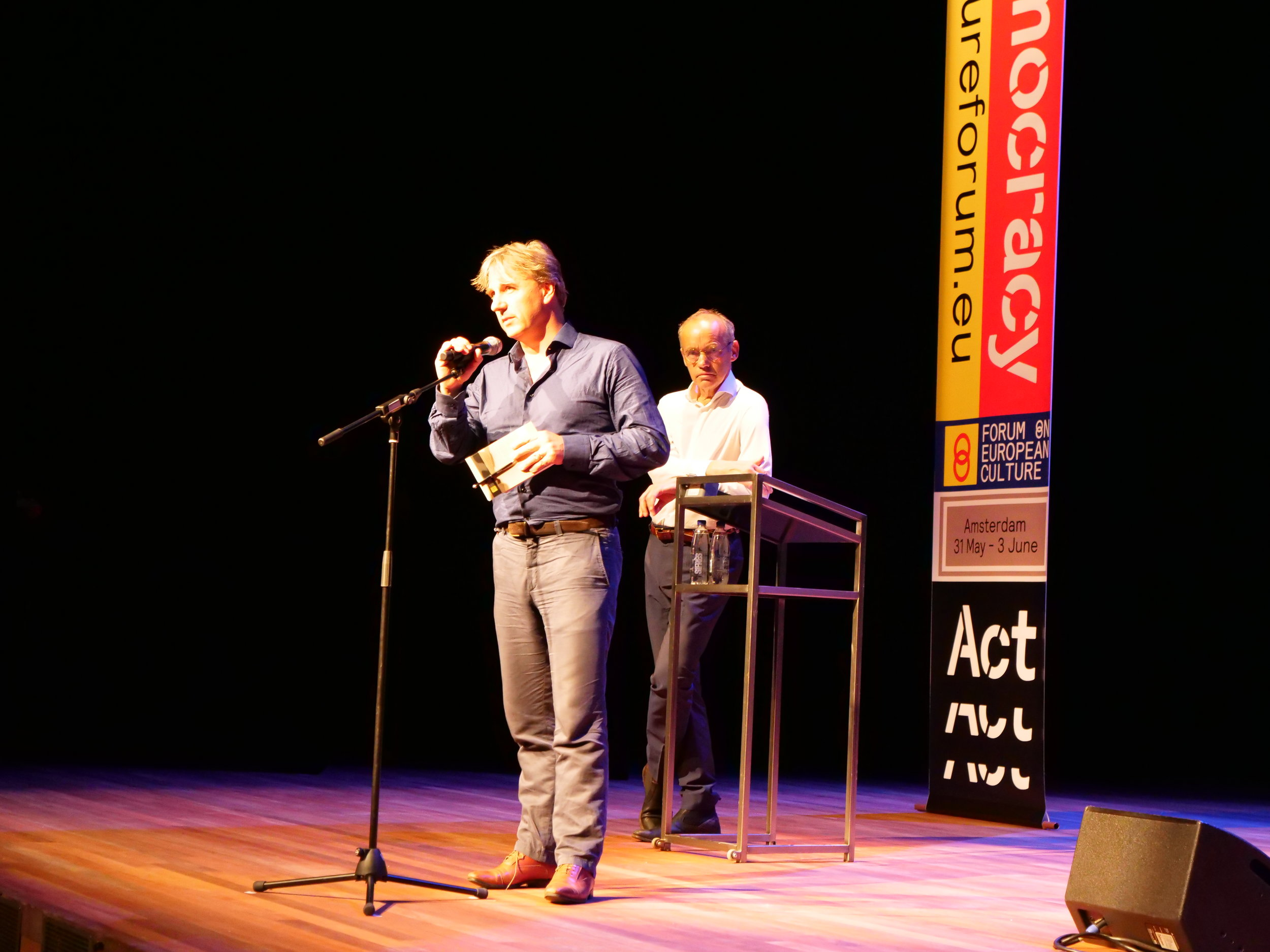 "Yoeri Albrecht from  de Balie  opens the Forum with a plea to ""Act for Democracy!"""