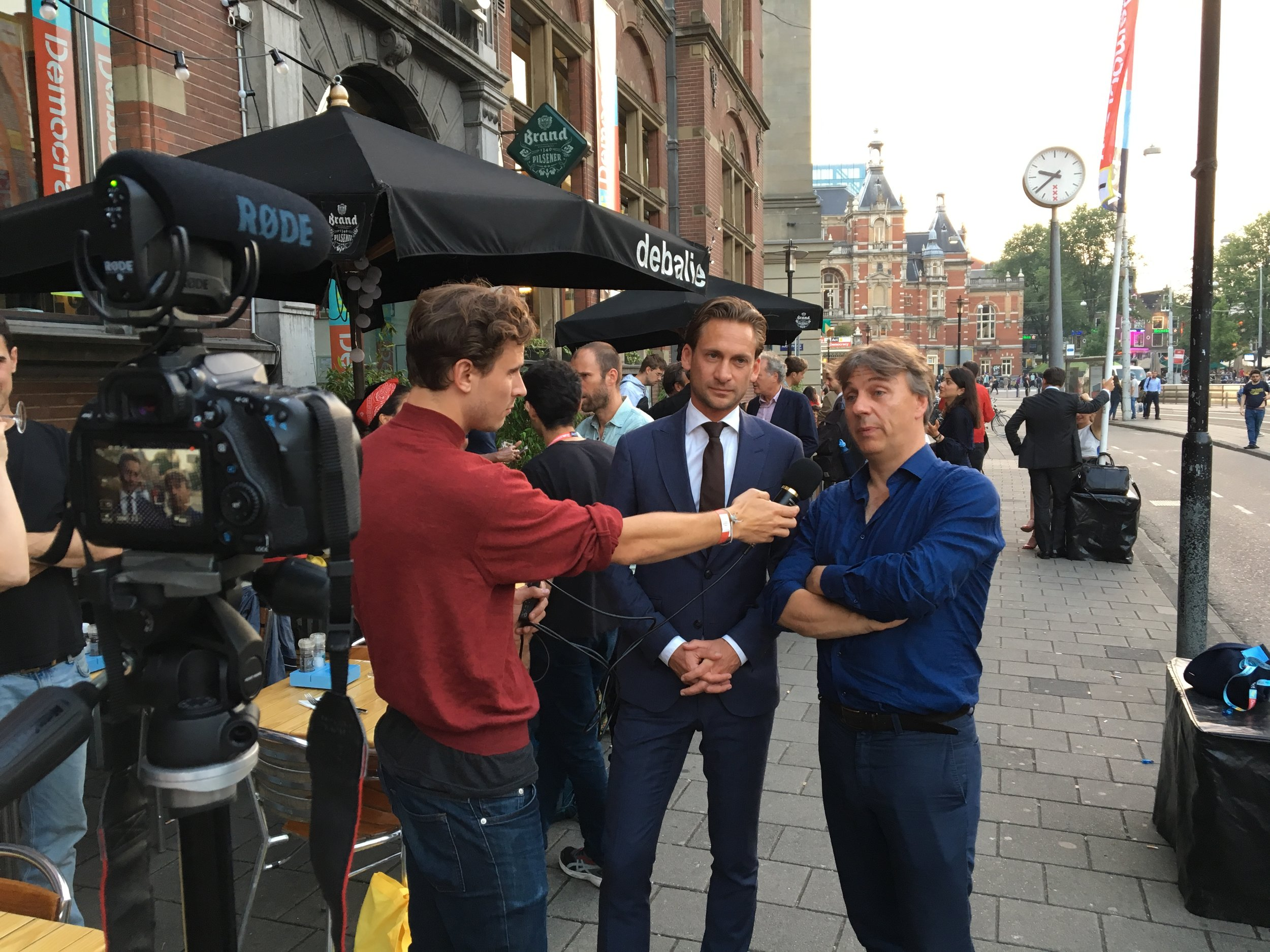 Our very own Kyrill Hartog interviewing Europe-guru  Mathieu Segers  and organizer of the event  Yoeri Albrecht .