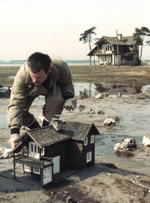Andrei Tarkovsky  on the set of ' Nostalghia '.