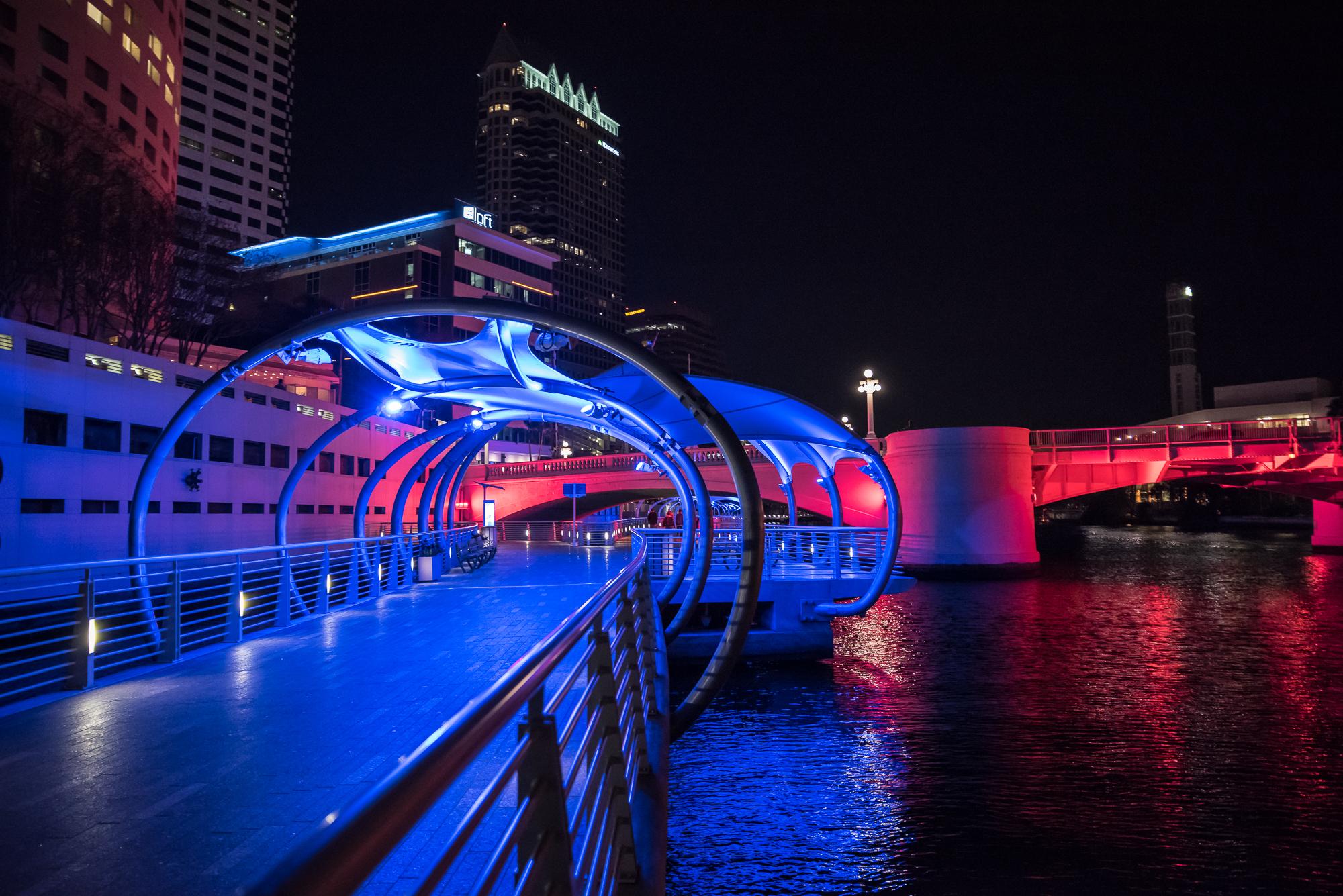 Pretty changing lights on the Riverwalk