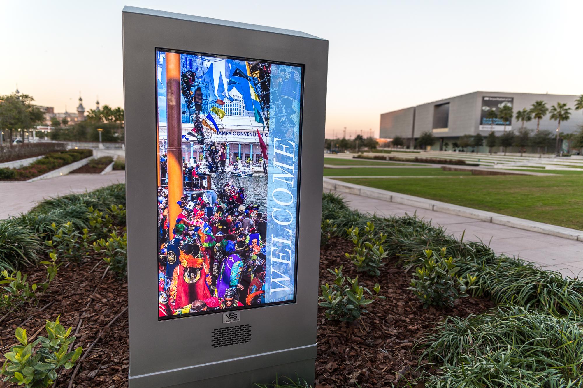 Curtis Hixon's digital screen informing visitors of upcoming events