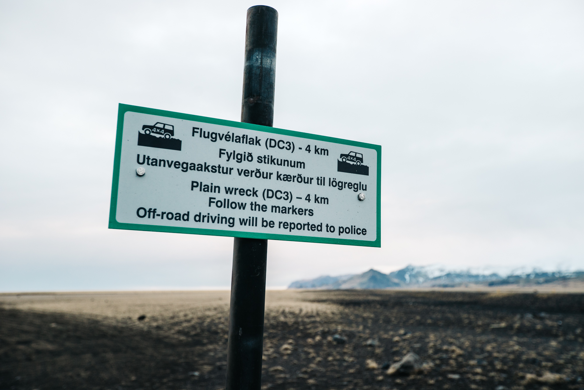 Sign regarding the plane wreckage on Solheimasandur beach