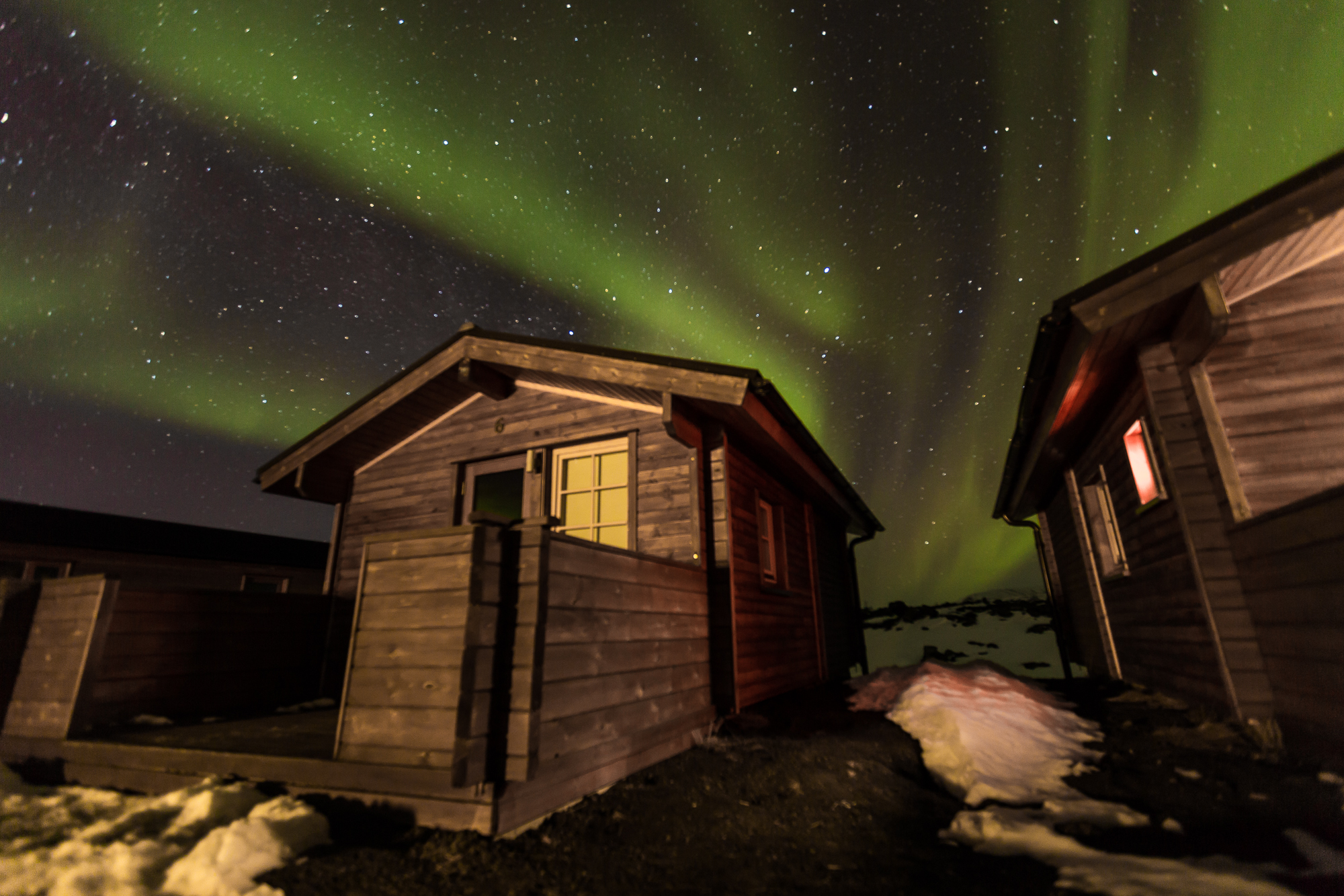 Northern lights getting brighter throughout the night in Myvatn