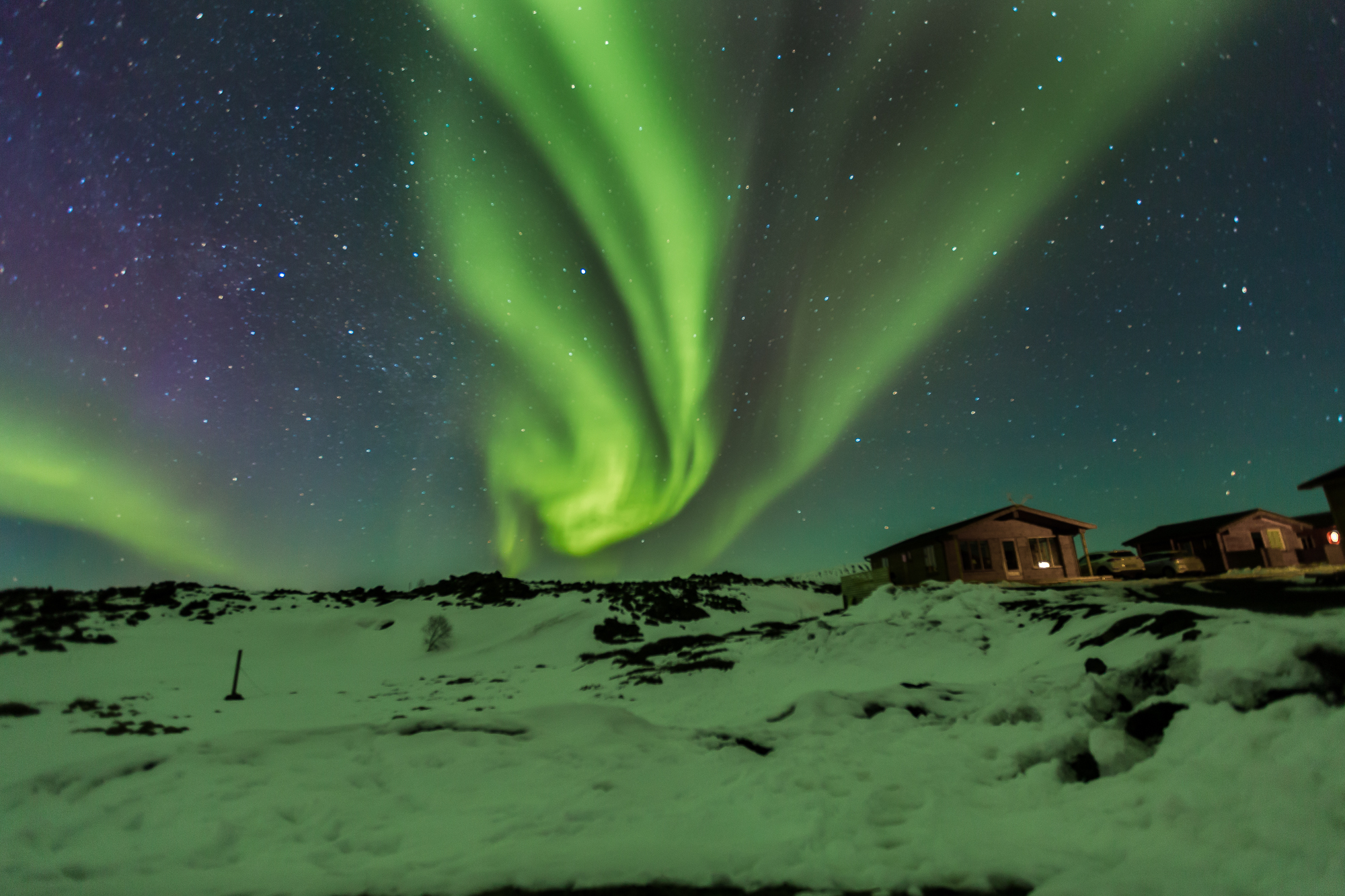 Northern lights seen at Myvatn in Iceland