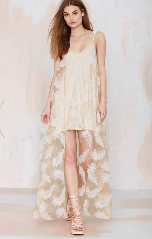 Line & Dot Soft Feather Asymmetric Dress