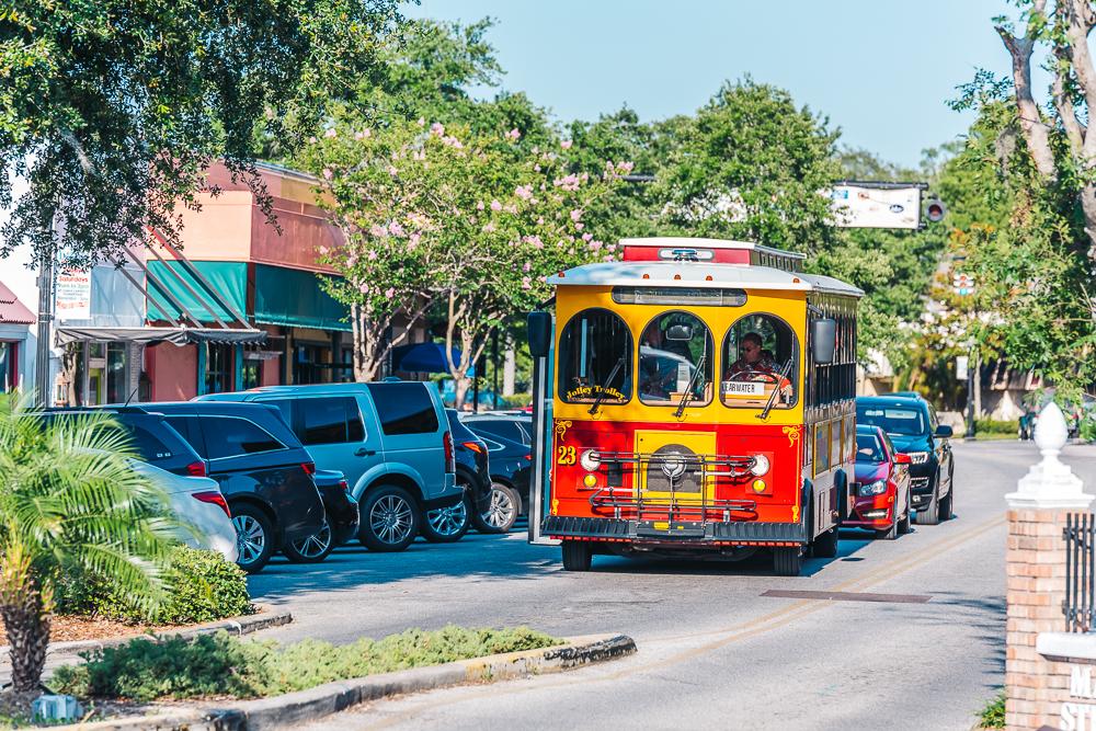 Friendly trolley on Main Street