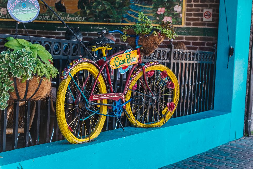 Colorful Casa Tina bike in front of the restaurant