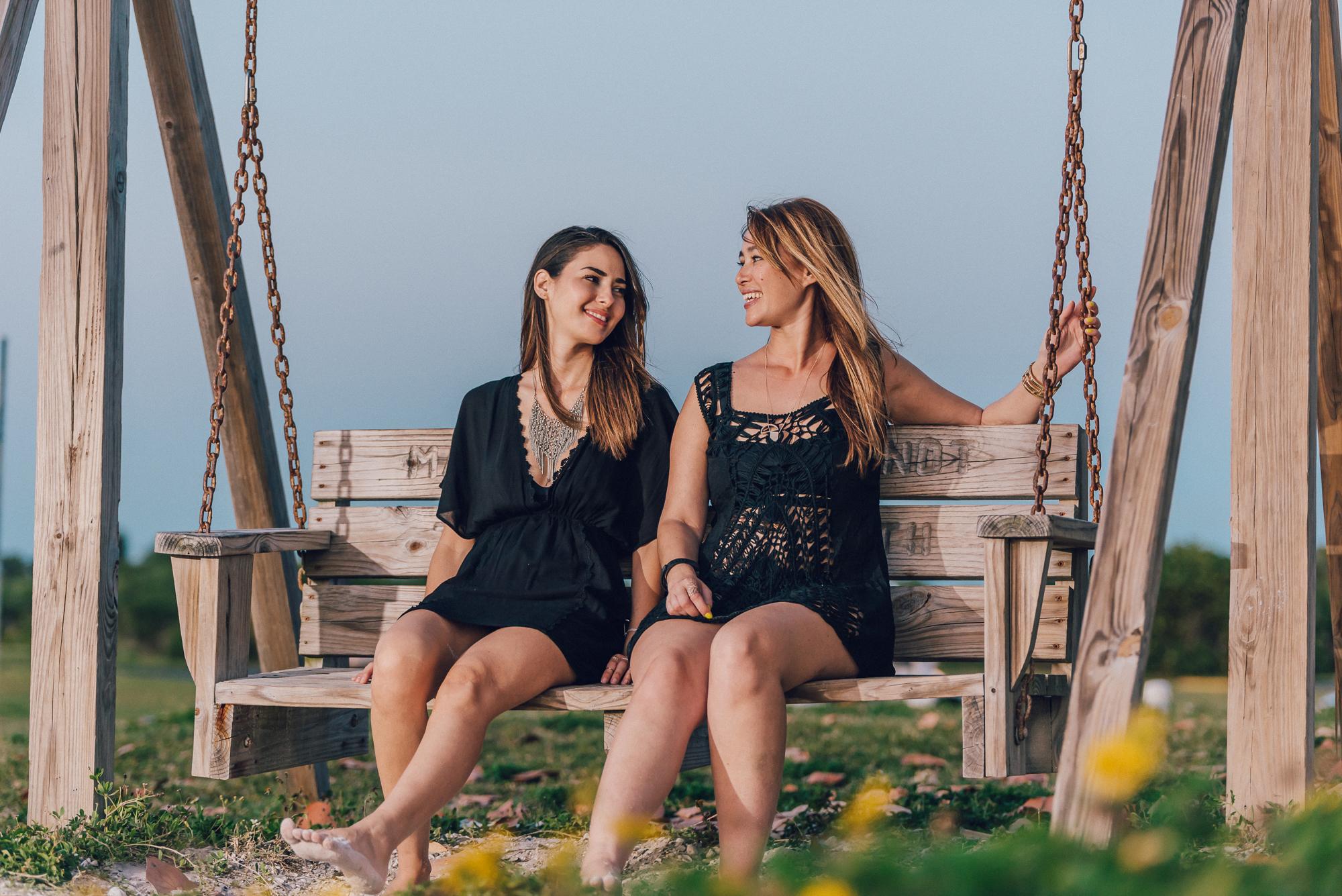 Cute bench swings at Honeymoon Island