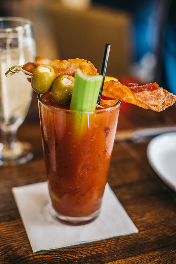 Bloody Mary rich in flavors topped with lots of garnish