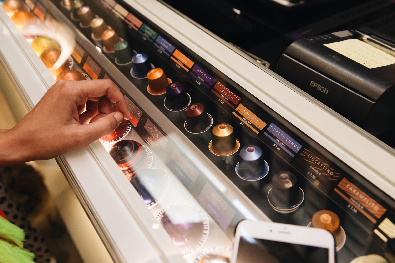 The Nespresso displays were so cool!