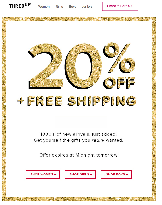 Promo email I received.