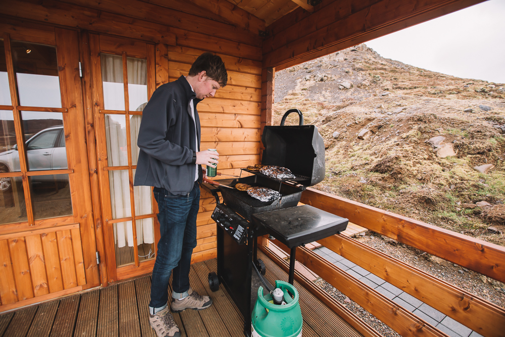Grilling dinner in   Iceland