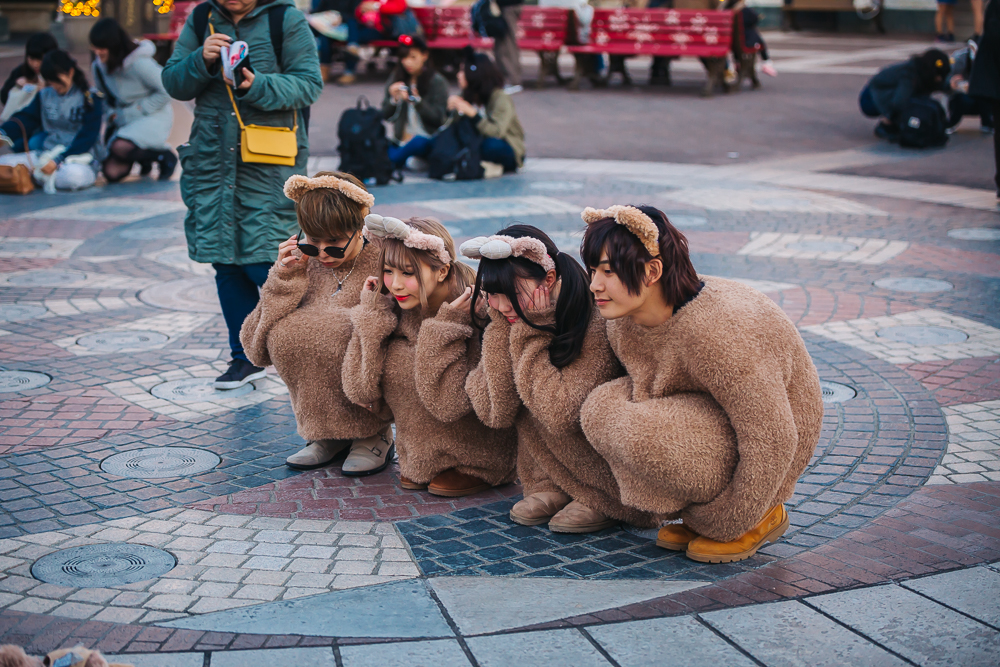 TEENAGERS DRESSED UP AS DUFFY THE BEAR