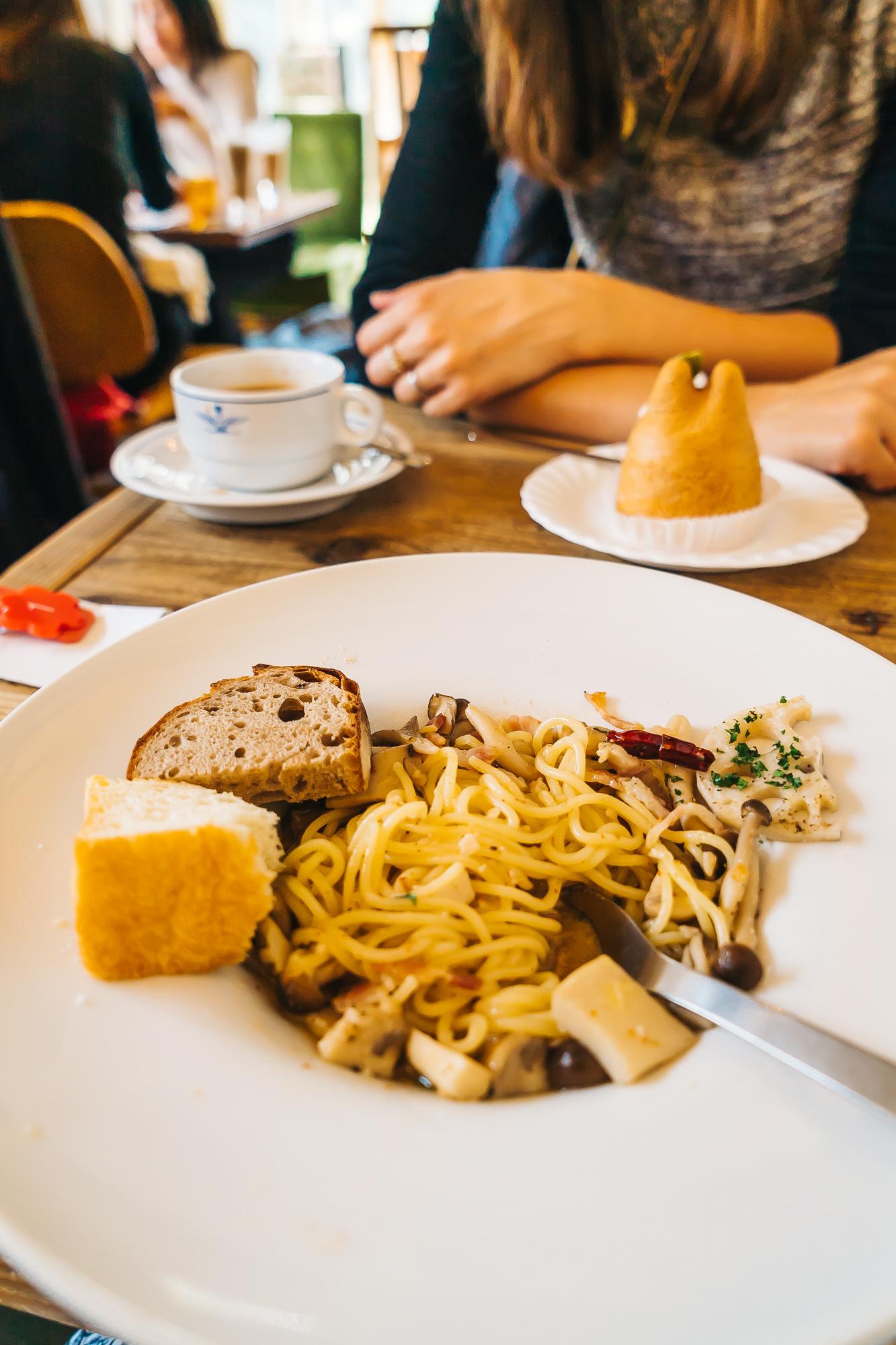 Four mushroom and pancetta pasta - delicious!