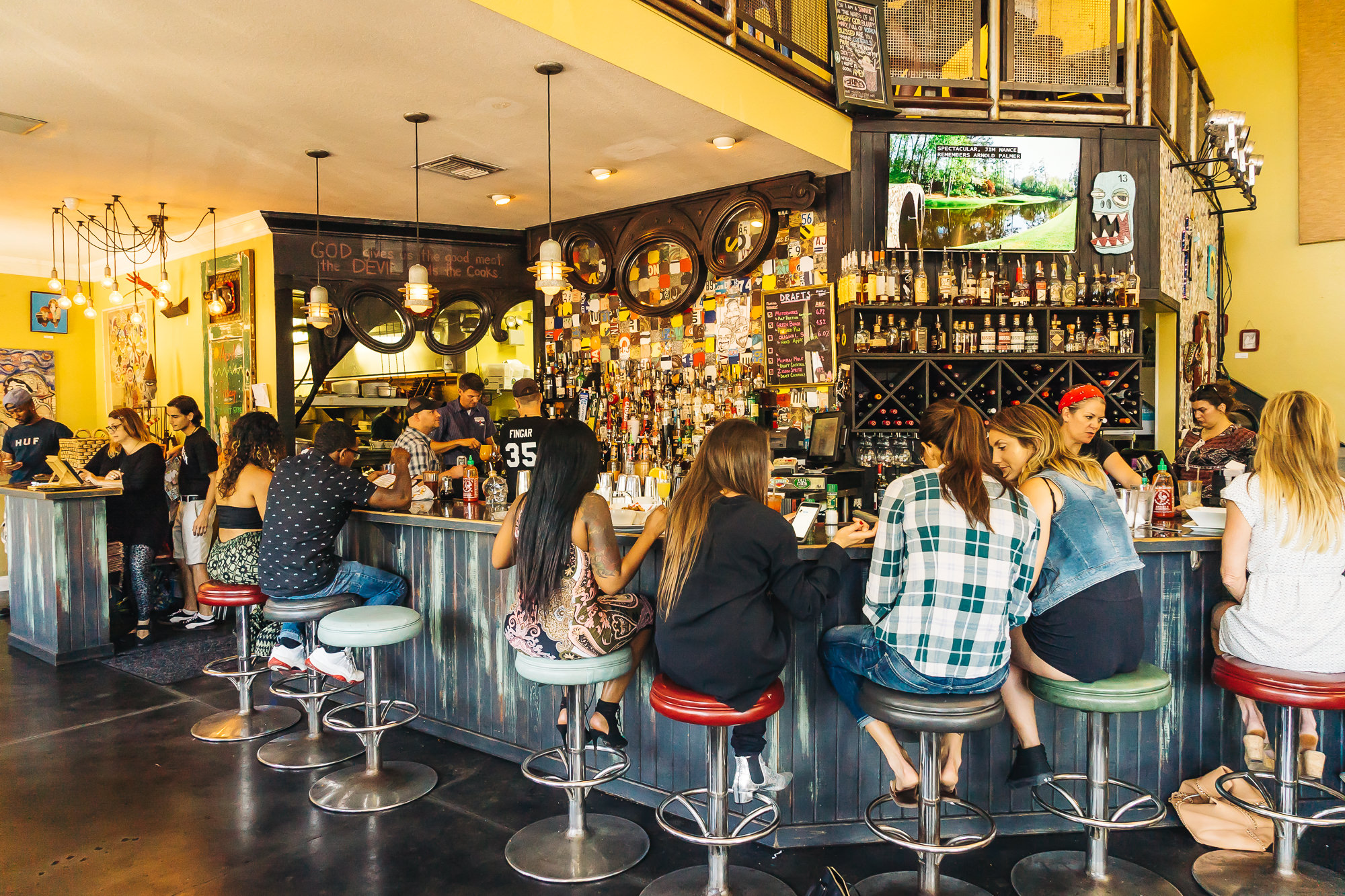 The colorful bar indoors