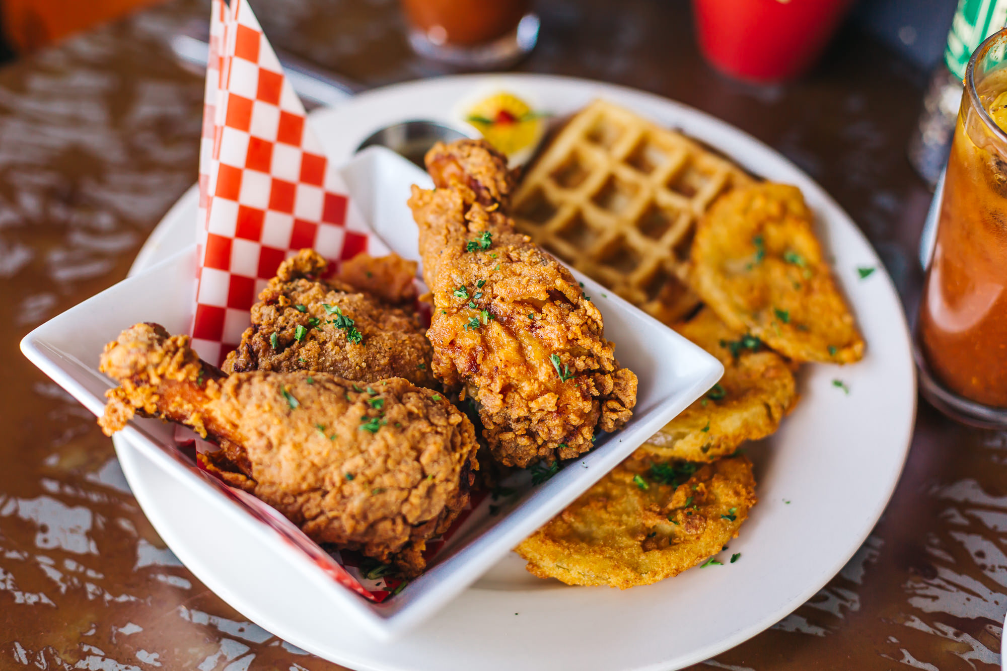 The popular fried chicken and waffles is definitely one of our favorite dishes