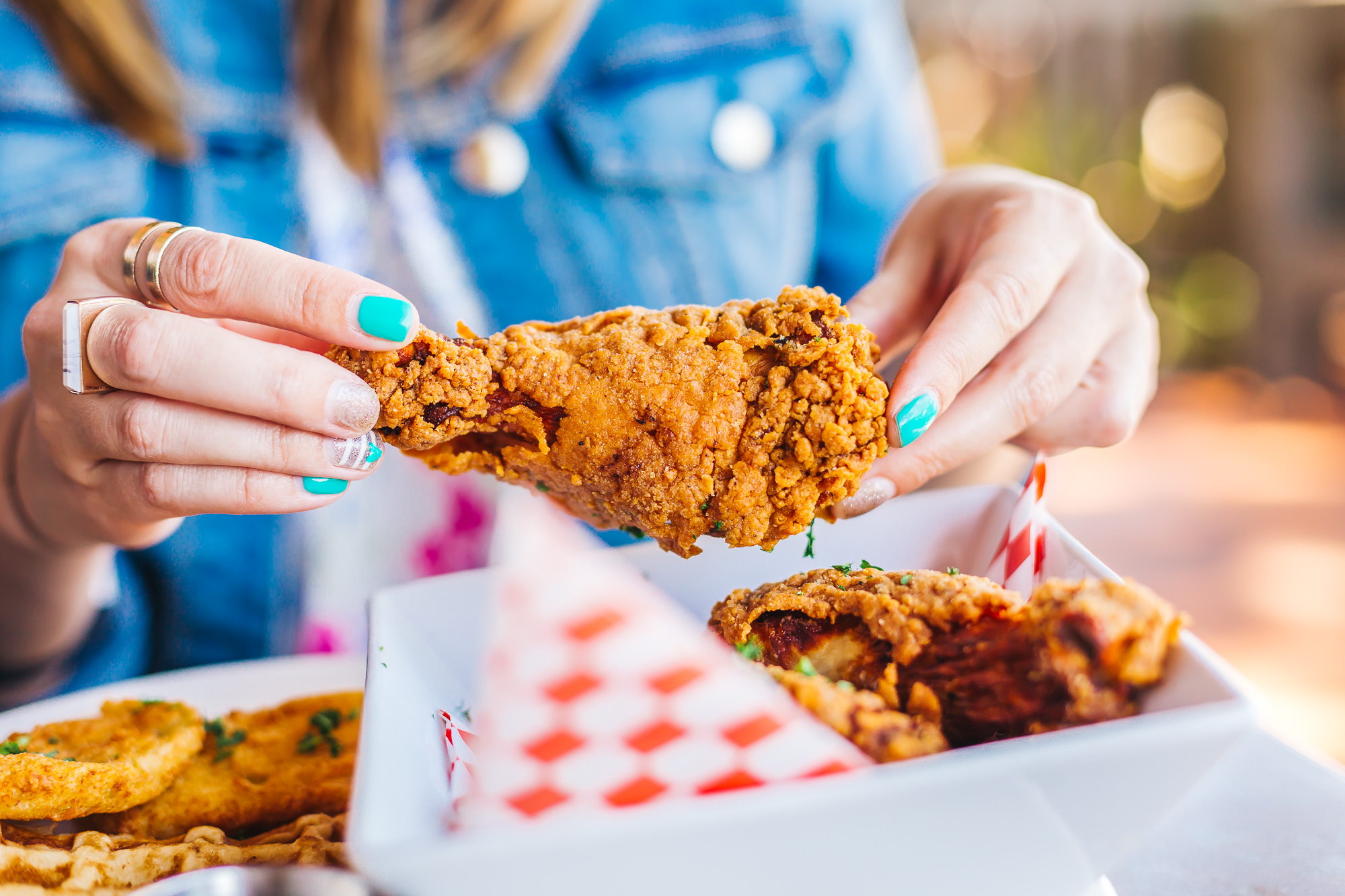 The outside coating on this fried chicken is so crunchy and flavorful
