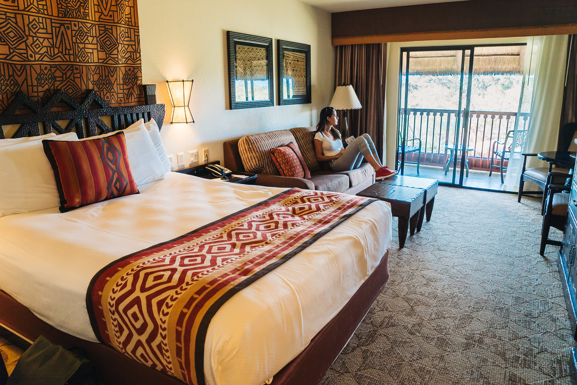 Our spacious room at the Animal Kingdom Lodge with safari view