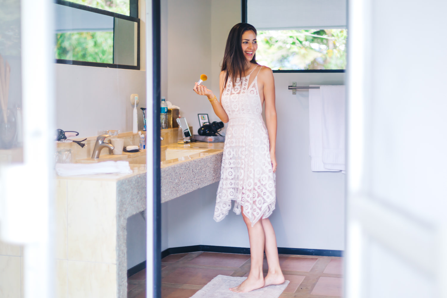 The bathrooms were just as big in all 3 bedrooms //Candy's Dress-   Free People Just Like Honey Mini Dress