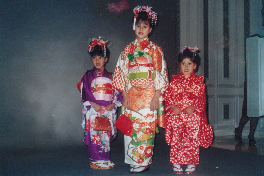 IN JAPAN MANY YEARS AGO FOR A KIMONO SHOOT. CRYSTAL IS IN THE MIDDLE AND CANDY IN THE PURPLE KIMONO. TO THE FAR RIGHT IS OUR LITTLE SISTER CINDY.