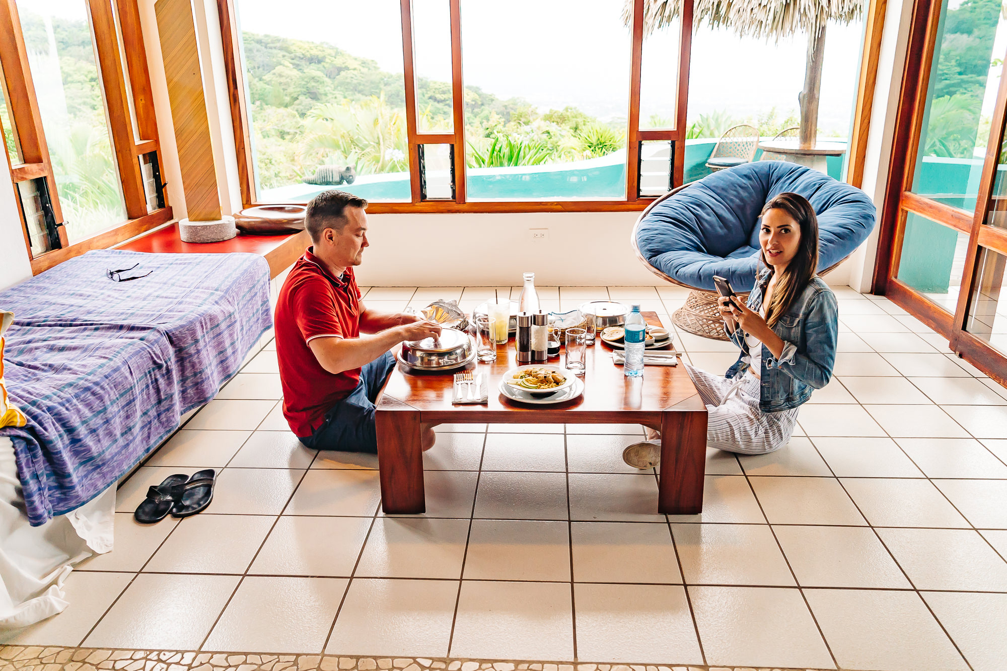 The kind staff delivered our lunch to us in our room at Oversized terrace of our villa at   Xandari Resort and Spa