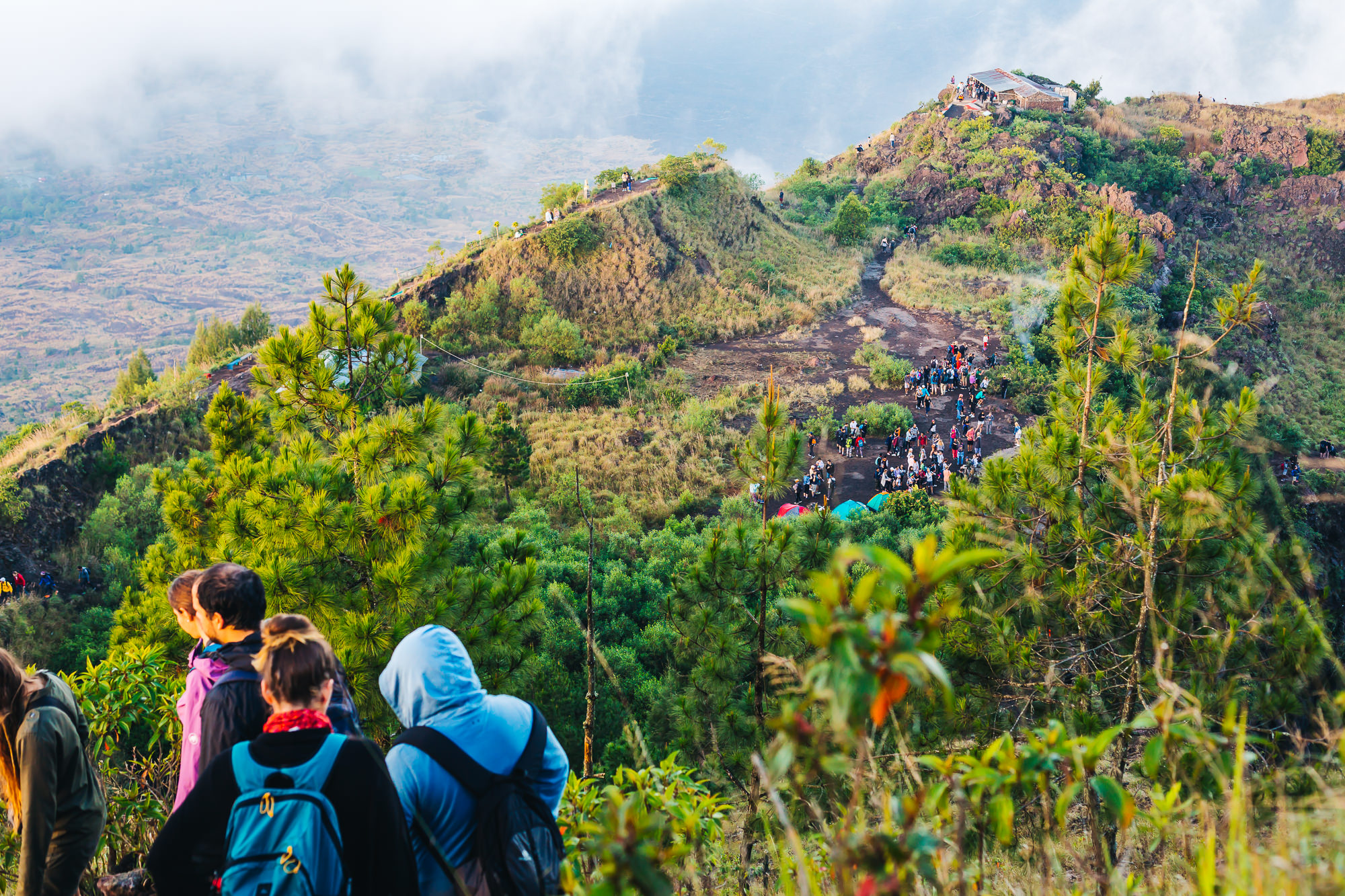 Many hikers conquering Mount Batur